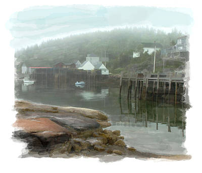 Moody Painting - Misty Harbor by Elaine Plesser