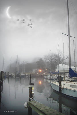 Misty Harbor Lights Art Print by Brian Wallace