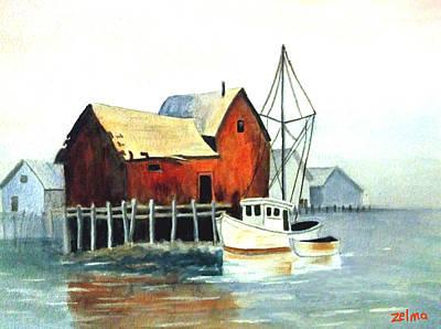 Misty Harbor Art Print by Zelma Hensel