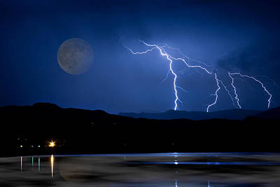 Photograph - Misty Lake Full Moon Lightning Storm Fine Art Photo by James BO  Insogna