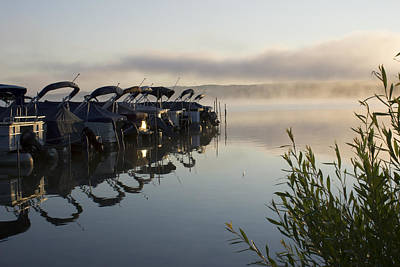 Photograph - Misty Lake Reflections by Ron Grafe