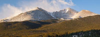 Winter Photograph - Misty Longs Peak Sunrise by Aaron Spong