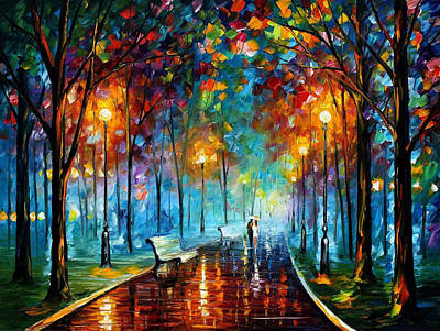 Misty Mood 2 - Palette Knife Landscape Oil Painting On Canvas By Leonid Afremov Original by Leonid Afremov