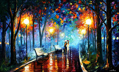 Misty Mood - Palette Knife Oil Painting On Canvas By Leonid Afremov Original by Leonid Afremov