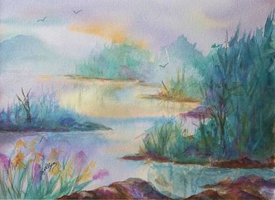 Waterscape Painting - Misty Morn On A  Mountain Lake by Ellen Levinson