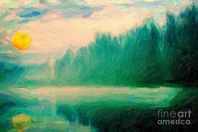 Tree Roots Painting - Misty Morning by Celestial Images