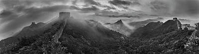 Panorama Wall Art - Photograph - Misty Morning At Great Wall by Yan Zhang