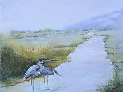 Painting - Misty Morning Fishing by Judy Fischer Walton