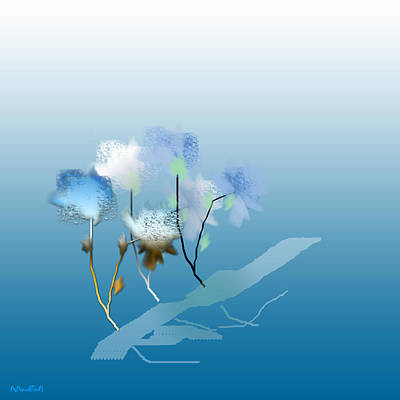 Art Print featuring the digital art Misty Morning Flowers by Asok Mukhopadhyay