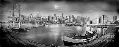 Misty Morning Harbour - Bw Print by Az Jackson