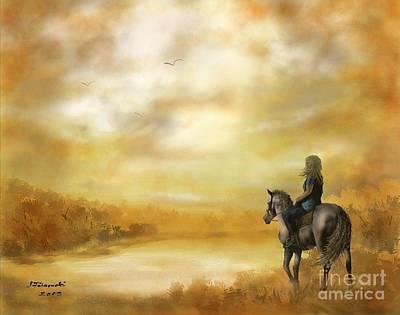 Misty Morning Painting - Misty Morning Horseback Ride by Judy Filarecki