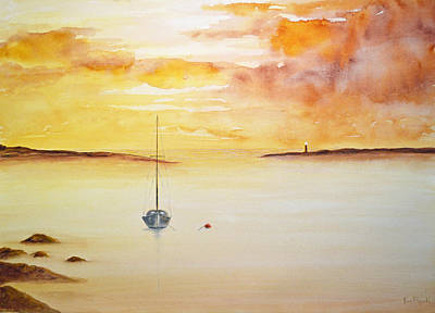 Sailboat Painting - Misty Morning by Ken Figurski
