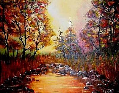 Art Print featuring the painting Misty Morning Marsh by The GYPSY And DEBBIE