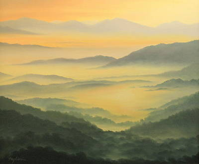 Smokey Mountains Painting - Misty Morning by Mary Taglieri