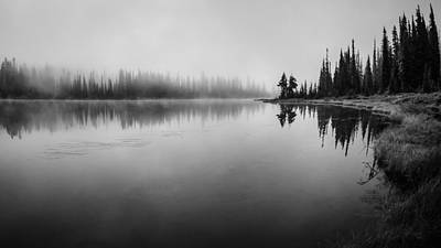 Misty Morning On Reflection Lake Art Print by Brian Xavier