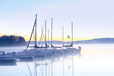 Foggy Lake Digital Art - Misty Morning Sailboats by Bill Cannon