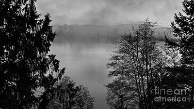 Photograph - Misty Morning Sunrise Black And White Art Prints by Valerie Garner