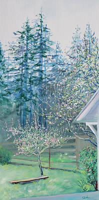 Painting - Misty Morning With Apple Blossoms And Redwoods by Asha Carolyn Young
