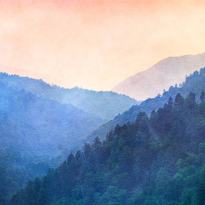 Misty Mountain Sunset Art Print
