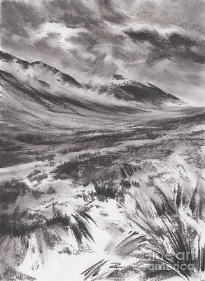 Drawing - Misty Mountains by Paul Davenport