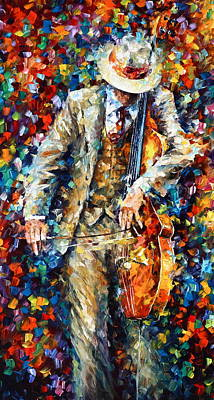 Upright Bass Painting - Misty Music 2nd Version by Leonid Afremov