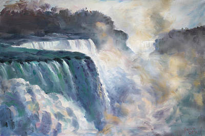 Waterfall Painting - Misty Niagara Falls by Ylli Haruni