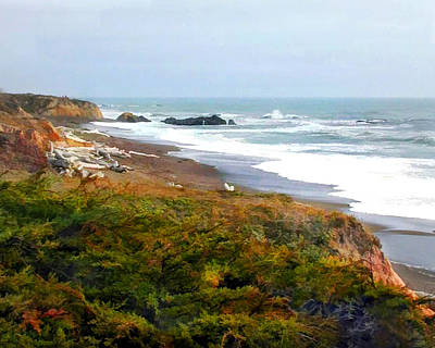 Cambria Painting - Misty Ocean Shoreline by Elaine Plesser