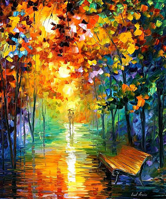 Misty Park 2 - Palette Knife Oil Painting On Canvas By Leonid Afremov Original
