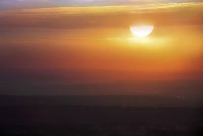 Misty Peaks And Valleys Under The Rising Sun - Mt. Nebo - Arkansas Art Print