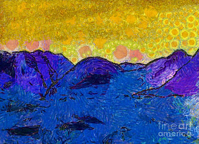 Misty Purple Mountains II Art Print by Anita Lewis