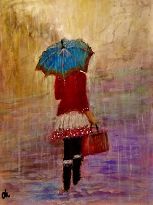 Abstract Purse Painting - Misty Rain... by Cristina Mihailescu