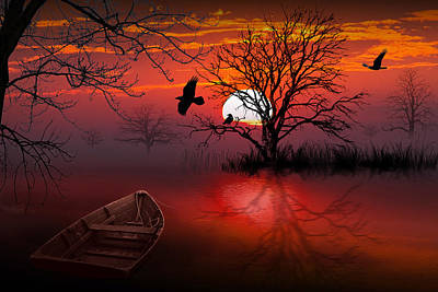 Misty Red Sunrise With Ravens Art Print