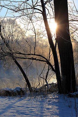 Misty River Sunrise Art Print