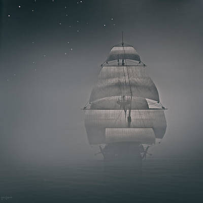 Eerie Digital Art - Misty Sail by Lourry Legarde