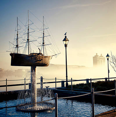 Blue Pirate Ships Landscape Photograph - Misty Savannah Sunrise by Renee Sullivan