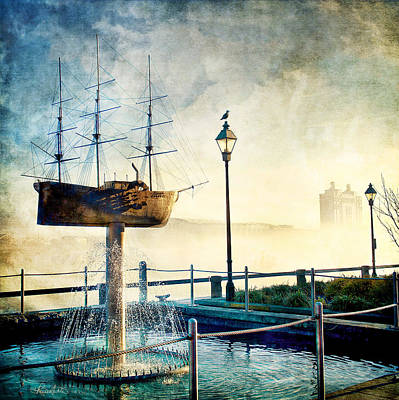 Blue Pirate Ships Landscape Photograph - Misty Savannah Sunrise - Textured by Renee Sullivan