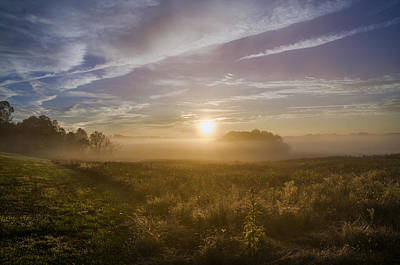 Misty Sunrise At Valley Forge Print by Bill Cannon