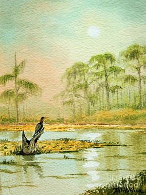 Anhinga Wall Art - Painting - Misty Sunrise At Wakulla by Bill Holkham