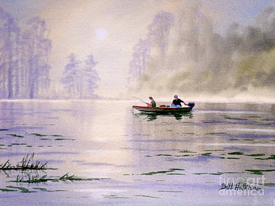 Steer Painting - Misty Sunrise On The Lake by Bill Holkham
