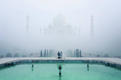 Water Reflections Photograph - Misty Taj Mahal by Karthi Kn Raveendiran