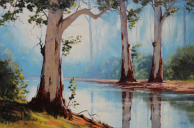 Impressionism Paintings - Misty Trees by Graham Gercken