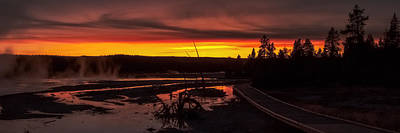 Photograph - Misty Vapors In The Sunset - Yellowstone National Park by R J Ruppenthal