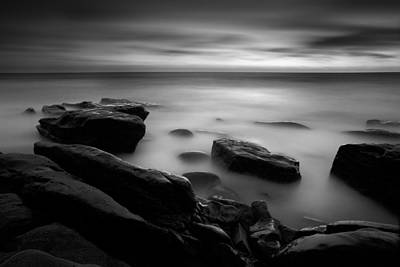 Long Beach Ca Photograph - Misty Water Black And White by Peter Tellone