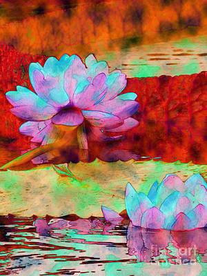 Misty Water Lilies 3 Art Print by Diane DiMarco