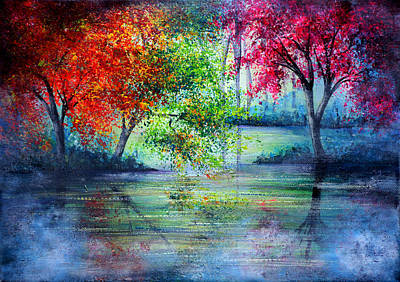 Abstract Landscape Painting - Misty Waters by Ann Marie Bone