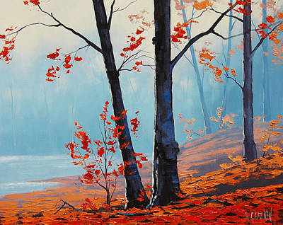Fiery Red Painting - Misty Woodland by Graham Gercken