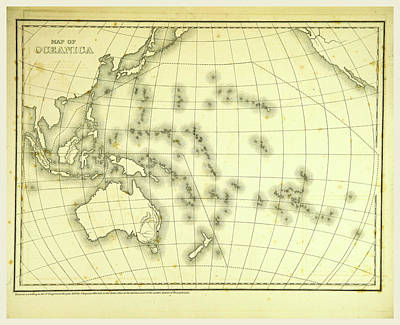 Oceania Drawing - Mitchells Atlas Of Outline Maps, Map Of Oceanica by Litz Collection