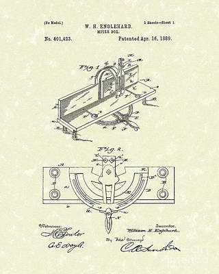 Drawing - Miter Box 1889 Patent Art by Prior Art Design