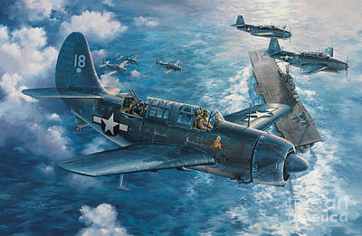 Warplane Painting - Mitscher's Hunt For The Rising Sun by Randy Green