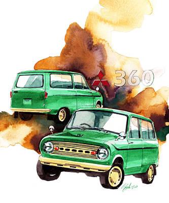 360 Wall Art - Painting - Mitsubishi 360 Van by Yoshiharu Miyakawa